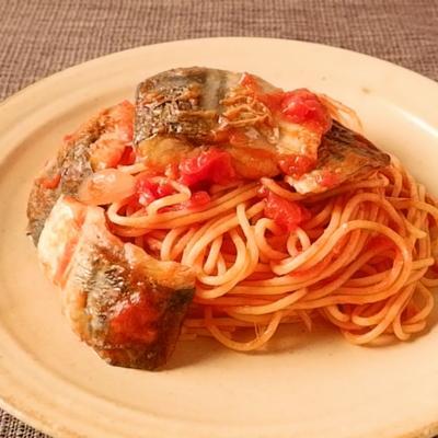 塩さばのトマトソーススパゲティ