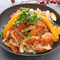 豚肉となすのトマト味噌炒め