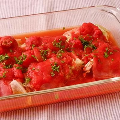 レンジで簡単 くるくるベーコンのトマト煮込み
