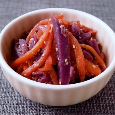 めんつゆで簡単 紫芋とにんじんのきんぴら