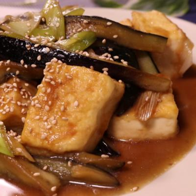 豆腐と茄子の味噌炒め
