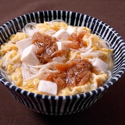 なめ茸と豆腐のかき卵温麺