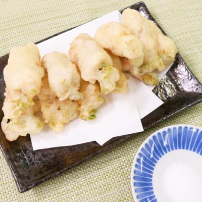 豚肉でボリュームアップ たらの芽の豚巻き天ぷら