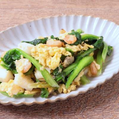 シーフードミックスとサラダ菜の卵炒め