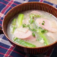 魚肉ソーセージとアスパラのチーズスープ