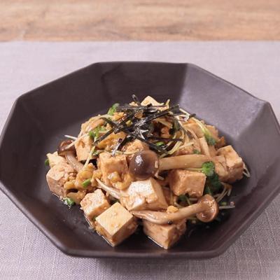 豆腐とかいわれ大根の韓国風ピリ辛和え