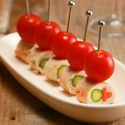 野菜のささみロールとミニトマトのピンチョス