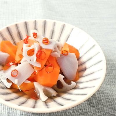 電子レンジで簡単 根菜のピリ辛浸し