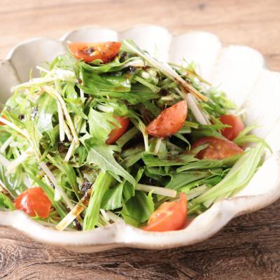 海苔ドレッシングで 水菜の和風サラダ