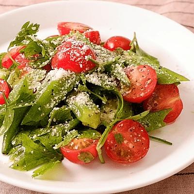 さっと簡単 オクラとミニトマトのガーリックサラダ