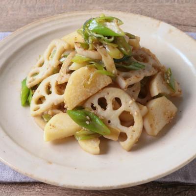 根菜と長ねぎのピリ辛きんぴら風