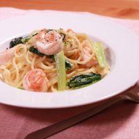エビと小松菜のクリームスパゲティ