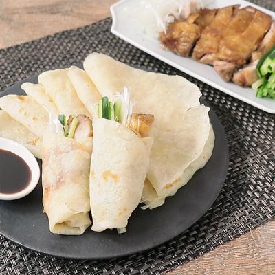 手作り中華クレープで 鶏もも肉の北京ダック風