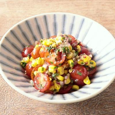トウモロコシとミニトマトのさっぱりマリネ