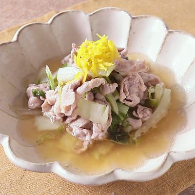 ゆず酢で 豚肉と白菜の炒め煮