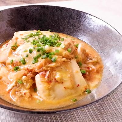 豆腐とキムチのコクうまチーズ卵とじ