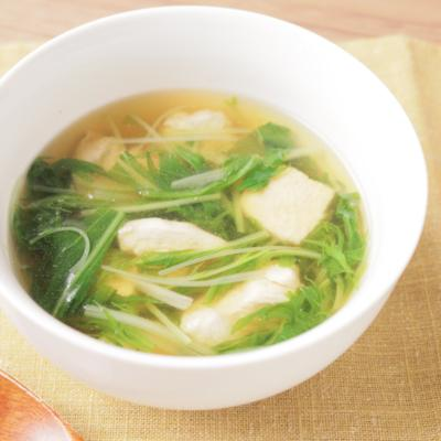 鶏むね肉と水菜の柚子こしょうスープ