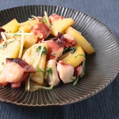 レモン香る 水菜とじゃがいものガーリック炒め