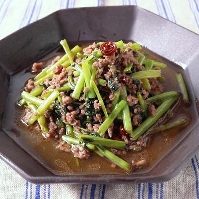 牛ひき肉と空心菜炒め