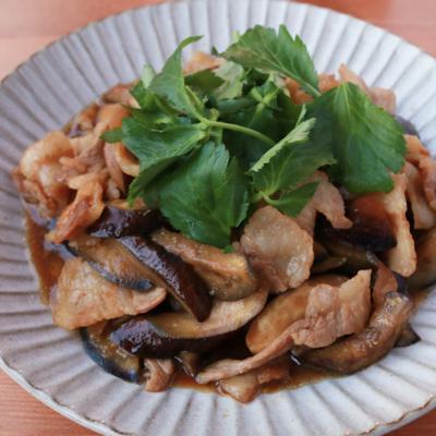 ナスと豚肉の生姜焼き
