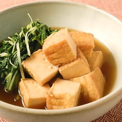 厚揚げと水菜のしょうゆ煮