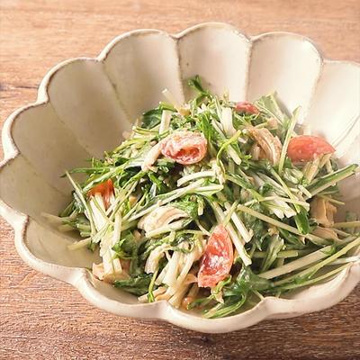 水菜とささみのごまドレサラダ