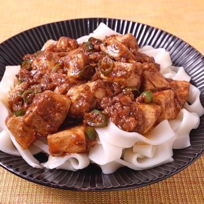 簡単リメイク 麻婆豆腐のあんかけきしめん