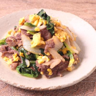 牛細切れ肉とサラダ菜の卵炒め