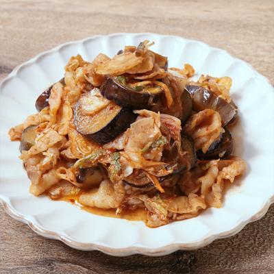 豚バラ肉とナスのキムチ炒め