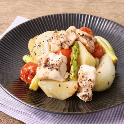 鶏ささみとたっぷり野菜のオーブン焼き