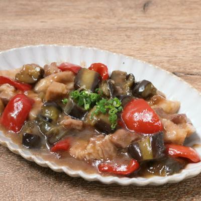 レンジで簡単 ナスと豚バラ肉の中華風