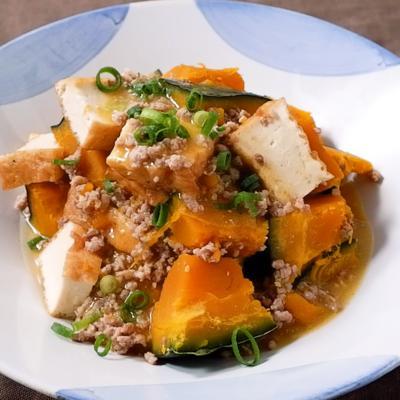 かぼちゃと厚揚げの味噌そぼろ煮
