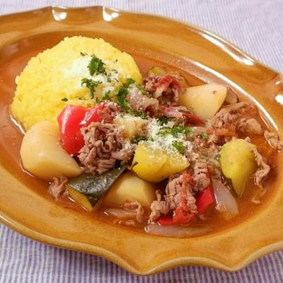 サフランライスをそえた フレッシュ野菜のビーフシチュー