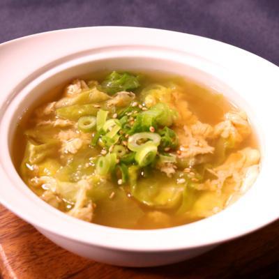 包丁いらず!レタスの卵スープ