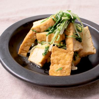 厚揚げと水菜の味噌炒め