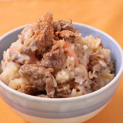 餅でモチモチ 牛丼風の炊き込みご飯