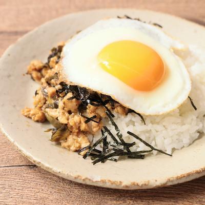 高菜と鶏ひき肉のそぼろ丼