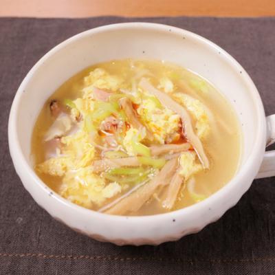 長ねぎとチャーシューの中華スープ