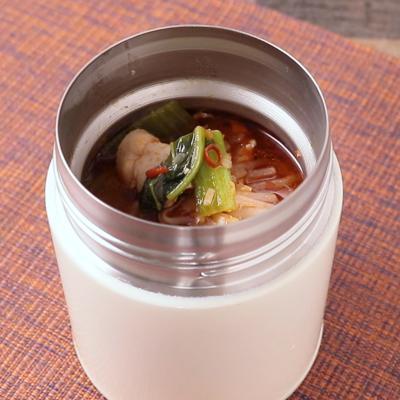スープジャーで 火鍋風春雨スープ