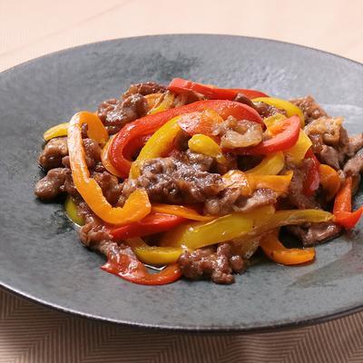 牛肉とカラフルパプリカの青椒肉絲風