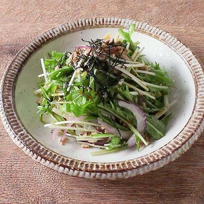 水菜とツナのわさびドレッシングサラダ