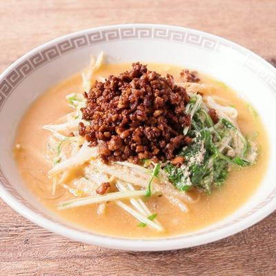 豆腐そぼろともやしのピリ辛担々スープ