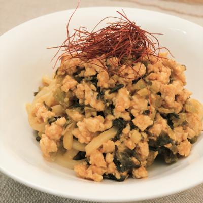 ピリ辛 高菜漬の肉味噌うどん