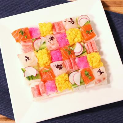 牛乳パックで彩りモザイク寿司
