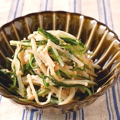 10分で作れる 水菜とえのきのごま酢和え