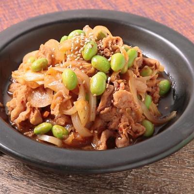 レンジで簡単おつまみ 枝豆入り豚キムチ