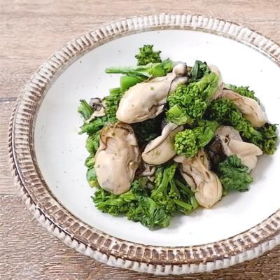 牡蠣と菜の花のポン酢がけ