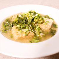 菜の花と厚揚げのたらこスープ