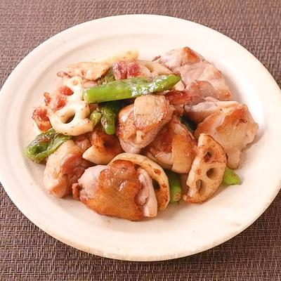 鶏肉とレンコンの梅おかか炒め