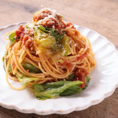 たっぷりレタスとツナのトマトスパゲティ